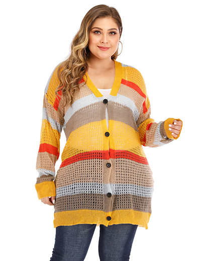 cheap Plus Size Sweaters-Women's Basic Hollow Hollow Out Stripe Striped Cardigan Acrylic Fibers Long Sleeve Plus Size Oversized Sweater Cardigans V Neck Fall Spring Yellow
