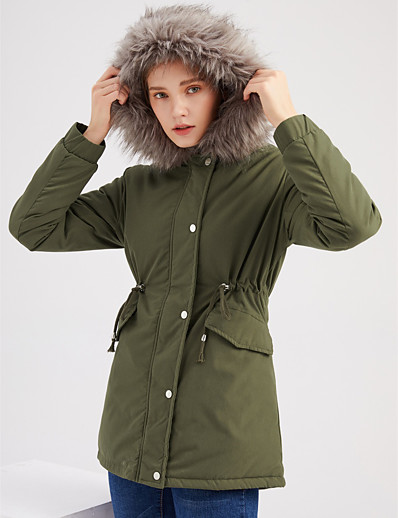 cheap Down& Parkas-Women's Fall & Winter Coat Regular Solid Colored Daily Basic Fur Trim Black Red Army Green S M L / Loose