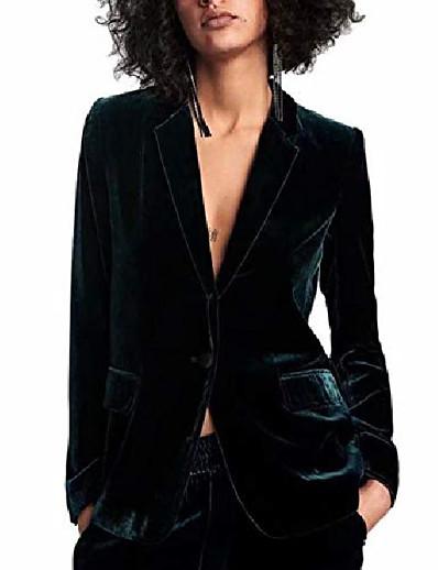 abordables Blazers Femme-femmes 1 bouton de velours blazer manteau slim fit costume décontracté veste de bureau revers