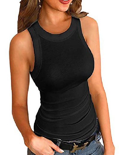 cheap Tops-women fashion solid round neck ribbed tank top & #40;black coffee, medium& #41;