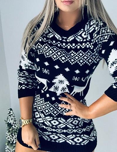 cheap 11/16/2020-Women's Sweater Jumper Dress Short Mini Dress - Long Sleeve Animal Fall Winter Casual Christmas Cotton 2020 Black Red S M L XL XXL