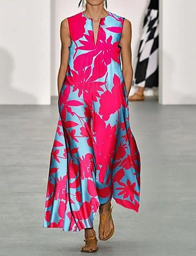 cheap 09/16/2020-Women's Swing Dress Maxi long Dress - Sleeveless Print Print Summer V Neck Casual Boho Daily Holiday Loose 2020 Blushing Pink S M L XL XXL