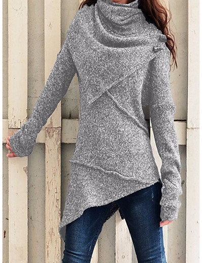 cheap Sweaters & Cardigans-Women's T-shirt Tunic Solid Colored Plain Long Sleeve Layered Patchwork Rolled collar High Neck Tops Basic Basic Top Black Blue Wine
