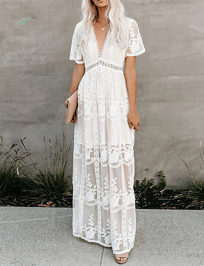 cheap Lace Dresses-Women's Swing Dress Maxi long Dress - Short Sleeve Floral Lace Embroidered Patchwork Summer V Neck Casual Slim 2020 White S M L XL