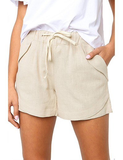 cheap Bottoms-Women's Basic Quick Dry Slim Daily Shorts Pants Solid Colored Short Blue Khaki Green