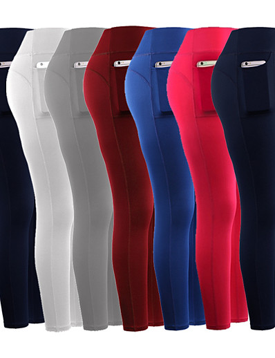 cheap Running, Jogging & Walking-Women's Running Capri Leggings Athletic Tights Capris Bottoms with Phone Pocket Winter Fitness Gym Workout Running Jogging Training Breathable Quick Dry Soft Sport Solid Colored White Black Blue Red