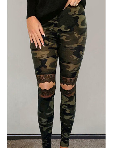 cheap Women's Bottoms-Women's Slim Chinos Pants Leopard Camouflage Solid Colored Full Length Black Yellow Army Green