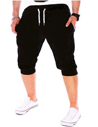 cheap Running, Jogging & Walking-summer men gym workout shorts drawstring elastic bottom pants casual sweatpants capri joggers loose fit (gray, xxxl)