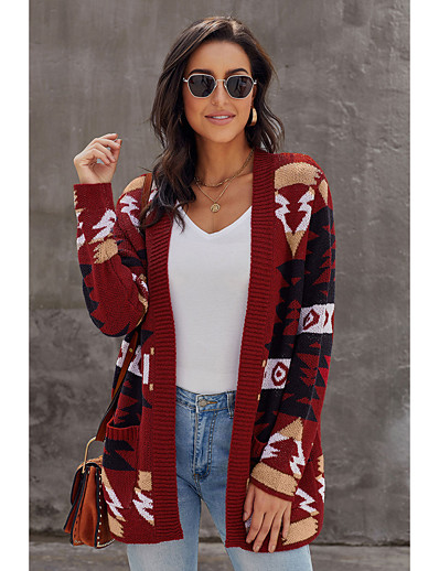 cheap TOPS-Women's Knitted Abstract Cardigan Acrylic Fibers Long Sleeve Loose Sweater Cardigans V Neck Fall Winter White Blue Red