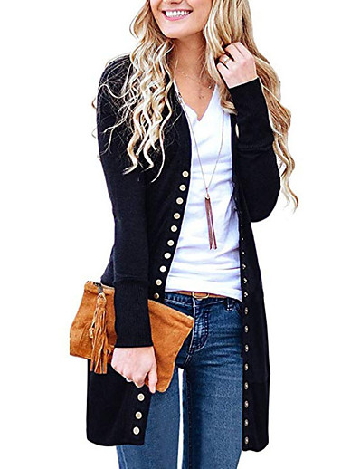cheap Sweaters & Cardigans-Women's Basic Knitted Solid Colored Plain Cardigan Cotton Long Sleeve Loose Sweater Cardigans V Neck Fall Winter Black Blue Wine