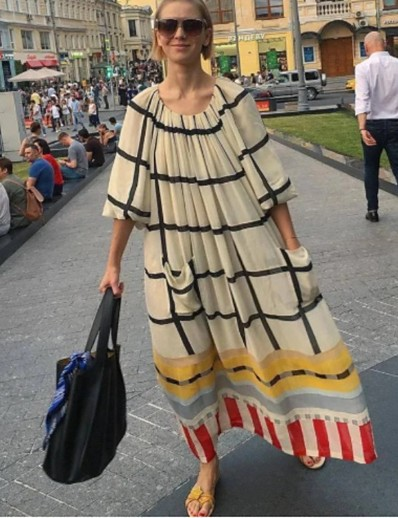 cheap NEW IN-Women's Swing Dress Maxi long Dress - Half Sleeve Print Print Summer Casual Going out Lantern Sleeve Loose 2020 Beige S M L XL XXL 3XL