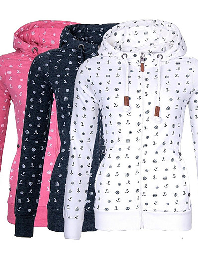 cheap Sports Athleisure-Women's Hoodie Pullover White Blue Front Zipper Hoodie Fleece Sunflower Sport Athleisure Hoodie Top Long Sleeve Warm Soft Comfortable Everyday Use Exercising General Use / Winter