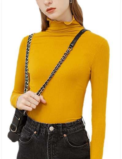 cheap Sweaters & Cardigans-Women's Basic Knitted Solid Colored Plain Sweater Long Sleeve Slim Sweater Cardigans Turtleneck Fall Winter Yellow