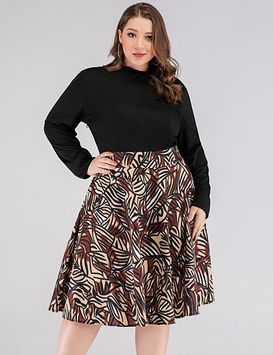 cheap Plus Size Dresses-Women's Swing Dress Knee Length Dress - Long Sleeve Print Print Summer Elegant Daily 2020 Black XL XXL XXXL XXXXL XXXXXL