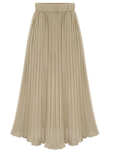 cheap Bottoms-Women's Daily Wear Basic Skirts Solid Colored Pleated Chiffon White Black Blushing Pink