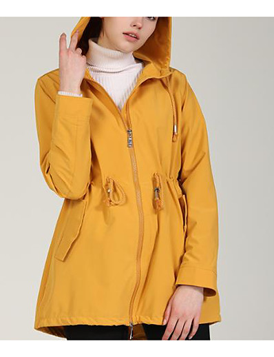 cheap Down& Parkas-Women's Padded Parka Solid Colored Nylon Black / Yellow S / M / L / Skinny