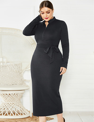 cheap Plus Size Dresses-Women's Sheath Dress Midi Dress - Long Sleeve Solid Color Zipper Fall Sexy 2020 Black Blue Wine XL XXL XXXL XXXXL XXXXXL