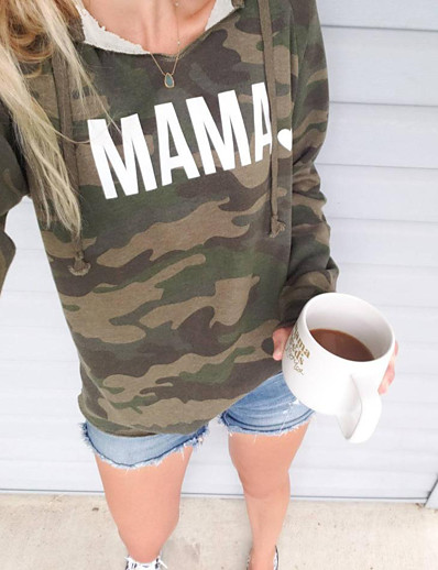 cheap 09/11/2020-Women's Daily Pullover Hoodie Sweatshirt Camouflage Letter Monograms Basic Hoodies Sweatshirts  Loose Army Green