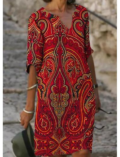 cheap DRESSES-Women's Shift Dress Knee Length Dress - Half Sleeve Floral Print Summer V Neck Casual Daily Loose 2020 Red M L XL XXL XXXL
