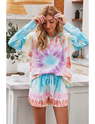 cheap Two Piece Set-Women's Basic Tie Dye Two Piece Set Hoodie Pant Drawstring Tops