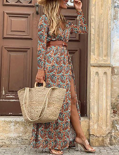 cheap Maxi Dresses-Women's Swing Dress Maxi long Dress - 3/4 Length Sleeve Floral Split Print Spring Fall V Neck Hot Sexy vacation dresses 2020 Blue Brown M L XL XXL 3XL