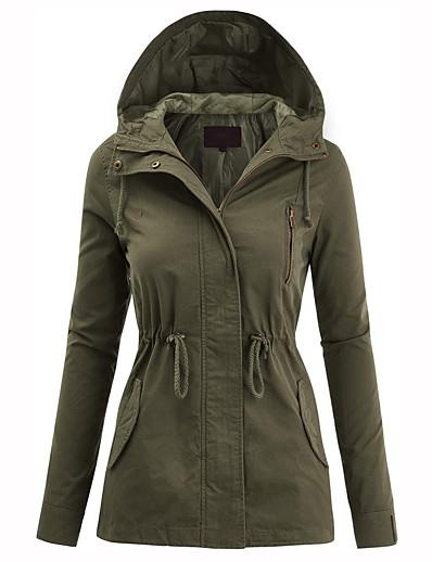 olcso SPORTSWEAR-Women's Zip Up Safari Military Anorak Jacket with Hood Drawstring Hoodie Jacket Hiking Jacket Hiking Windbreaker Winter Outdoor Warm Windproof Breathable Top Camping Hiking Fishing Climbing