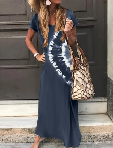 cheap Boho Dresses-Women's A-Line Dress Maxi long Dress - Short Sleeve Tie Dye Print Summer V Neck Classic & Timeless Holiday Vacation Loose 2020 Green Dark Gray Brown Navy Blue S M L XL XXL XXXL