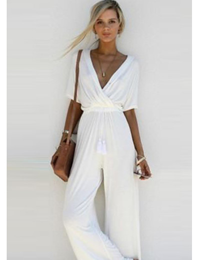 cheap JUMPSUITS & ROMPERS-Women's Basic V Neck Wide Leg White Black Blushing Pink Jumpsuit Solid Colored
