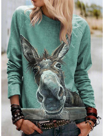cheap Tees & T Shirts-Women's Blouse Shirt Graphic Prints Long Sleeve Print Round Neck Tops Loose Basic Basic Top Green