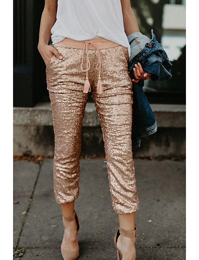 cheap Bottoms-Women's Basic Outdoor Slim Daily Chinos Pants Solid Colored Full Length Sequins Gold / Winter