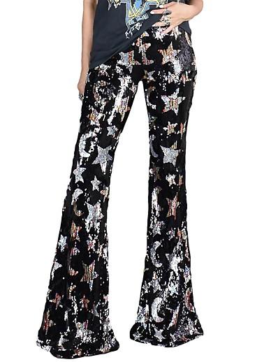 cheap Bottoms-Women's Basic Quick Dry Loose Club Chinos Pants Print Full Length Sequins High Waist Black