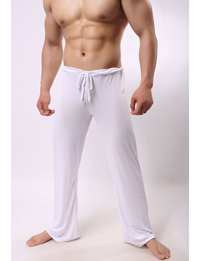 cheap Exercise, Fitness & Yoga-Men's Yoga Pants Drawstring Pants / Trousers Bottoms Quick Dry Lightweight Solid Color White Black Gray Ice Silk Yoga Fitness Pilates Summer Sports Activewear High Elasticity Loose