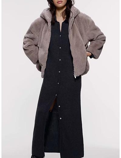cheap Furs & Leathers-Men's Hooded Kimono Jacket Regular Solid Colored Daily Basic Long Sleeve Light gray US32 / UK32 / EU40 US34 / UK34 / EU42 US36 / UK36 / EU44