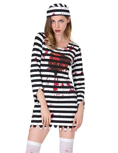 cheap HALLOWEEN 2020-Women's Shift Dress Short Mini Dress - Long Sleeve Striped Print Summer Vintage Party Slim 2020 Black S M L XL