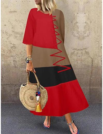 cheap Vintage Dresses-Women's Swing Dress Maxi long Dress - Half Sleeve Color Block Patchwork Summer Casual Daily Cotton 2020 White Red Khaki Gray M L XL XXL 3XL 4XL 5XL