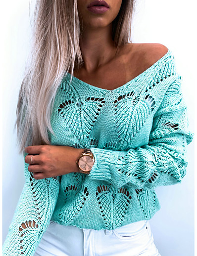 cheap Sweaters & Cardigans-Women's Basic Knitted Hollow Out Solid Colored Sweater Long Sleeve Sweater Cardigans V Neck Fall Winter Black Blushing Pink Light Blue