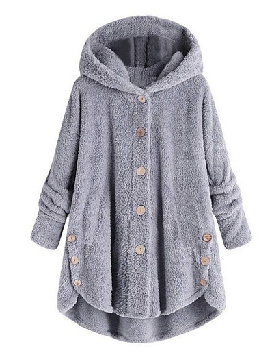cheap Outerwear-Women's Coat Solid Colored Basic Fall & Winter Long Daily Long Sleeve Cotton Coat Tops Brown coffee