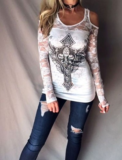 cheap TOPS-Women's Blouse Shirt Pattern Abstract Long Sleeve Lace Cut Out U Neck Tops Elegant Basic Top Beige