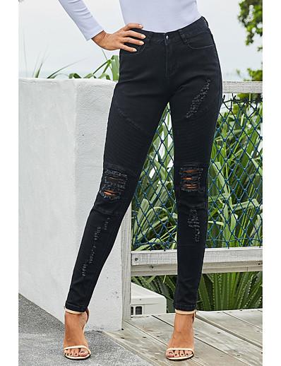 abordables Bas-Femme basique Séchage rapide Mince Quotidien Chino Pantalon Couleur Pleine Cheville Troué Taille haute Noir