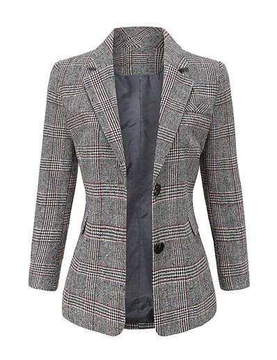 cheap Blazers-Women's Faux Leather Jacket Regular Houndstooth Daily Basic Red Gray S M L
