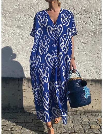 cheap 09/11/2020-Women's Swing Dress Maxi long Dress - Short Sleeve Print Print Summer V Neck Casual Boho Daily Weekend Loose 2020 Blue S M L XL XXL XXXL