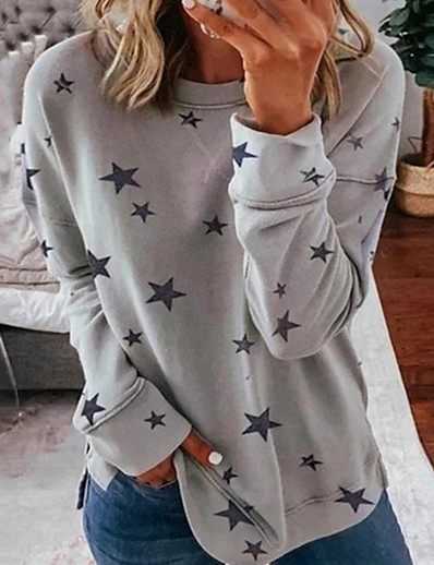 cheap Hoodies & Sweatshirts-Women's Daily Pullover Sweatshirt Star Casual Hoodies Sweatshirts  Loose Oversized White Blue Khaki