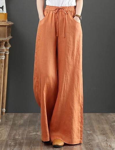 cheap Bottoms-Women's Cotton Loose Daily Weekend Chinos Pants Solid Colored Full Length Orange Green Beige