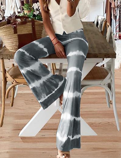 abordables Bas-Femme basique Mince Quotidien Collants Joggings Pantalon Rayé Toute la longueur Bandes Taille haute Vin Vert Gris