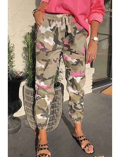 cheap Bottoms-Women's Basic Quick Dry Loose Daily Capri shorts Pants Camouflage Ankle-Length Rainbow