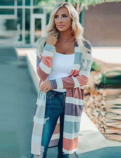 cheap Sweaters & Cardigans-Women's Stripe Color Block Cardigan Long Sleeve Sweater Cardigans V Neck Fall Winter Rainbow