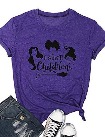 cheap HALLOWEEN 2020-Women's Halloween T-shirt Graphic Prints Letter Tops Basic Halloween Basic Top Purple