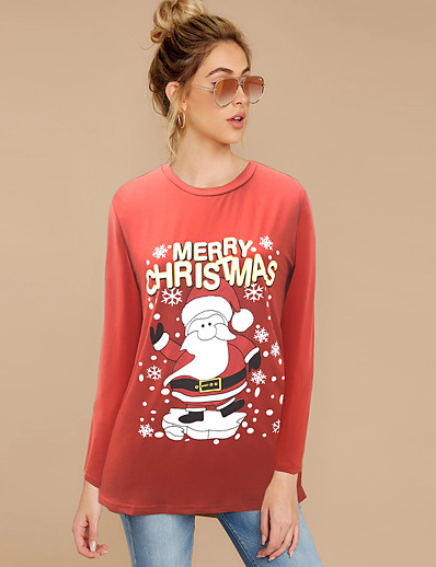 cheap HALLOWEEN 2020-Women's T-shirt Cartoon Long Sleeve Print Round Neck Tops Cotton Basic Top White Purple Red