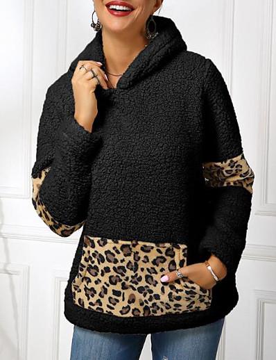cheap Furs & Leathers-Women's Pullover Hoodie Sweatshirt Leopard Cheetah Print Basic Hoodies Sweatshirts  Black Khaki Beige