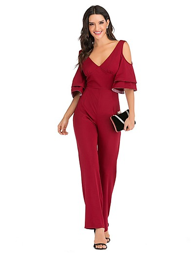 cheap Jumpsuits & Rompers-Women's Ordinary V Neck Black Red Romper Solid Colored Ruffle Patchwork